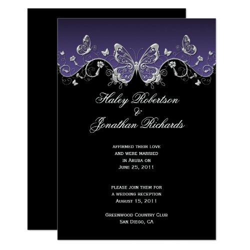 Purple Black Silver Butterflies Post Wedding Invitation