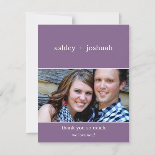 Purple Bold Names Photo Thank You Flat Cards
