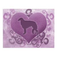 Purple Borzoi Valentine Postcard