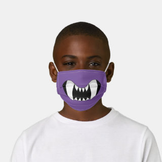 Purple Cartoon Monster Teeth Kids' Cloth Face Mask