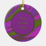 Purple chartreuse Color Swish Abstract Ceramic Ornament