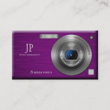 Purple Digital Camera Professional Photographer Business Card
