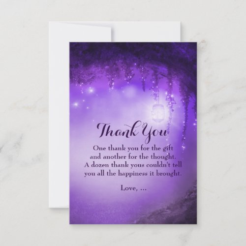 Purple Enchanted Fantasy Forest Thank You Cards
