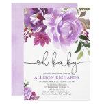Purple floral girl baby shower, summer spring invitation