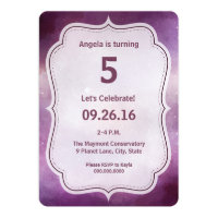 Purple Galaxy Space Birthday Party Invitation