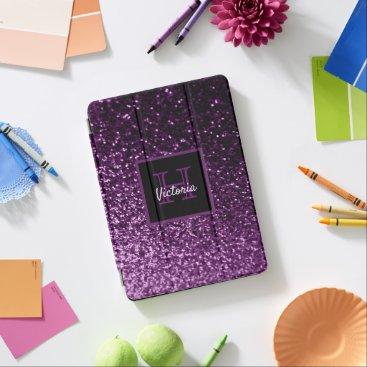 Purple girly glitter shiny glam monogrammed iPad air cover