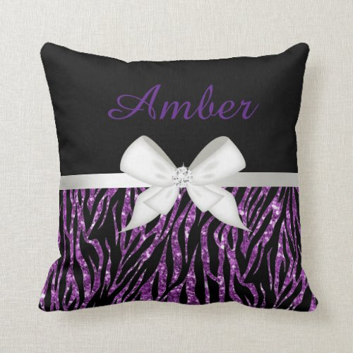 Purple Glitter Zebra Print and Ribbon Pillow