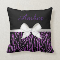 Purple Glitter Zebra Print and Ribbon Throw Pillow