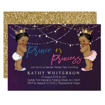Purple Gold gender reveal Invitation