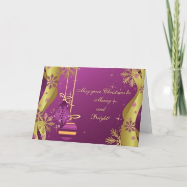 Purple Gold Ornaments Christmas Card
