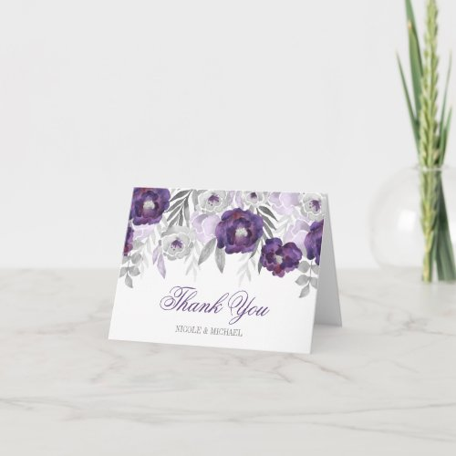 Purple Gray Watercolor Flowers Thank You