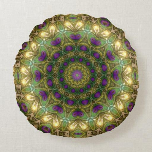 Purple Green Bohemian Dreams Round Cushion