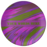 Purple Green Color Swish Abstract Porcelain Plate