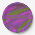 Purple Green Color Swish Paper Plate