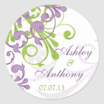 Purple Green White Floral Wedding Stickers