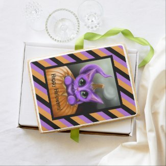 Purple Halloween Kitty Jumbo Cookie