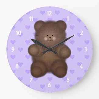 Purple Hearts: Teddy Bear Wall Clock On Blue