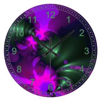 Purple Imp Abstract Fractal Violet Magenta Ribbons Wall Clock