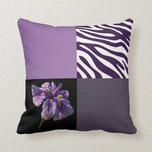 Purple Iris Zebra Stripe Gradient Colors Texture Pillow