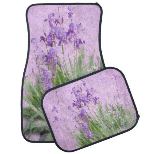 Purple Irises Watercolor - Car Mat