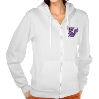 Purple Kitty Personalized Fleece Zip Hoodie