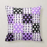Purple Ladybug Polka Dots Baby Girl Quilt Blocks Throw Pillow