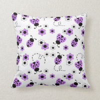 Purple Lavender Ladybug Lady Bug Floral Teen Girl Throw Pillow
