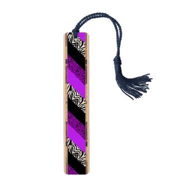 Purple Leopard and Zebra Animal Print Bookmark