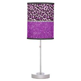 Purple Leopard Print Glitter Desk Lamps