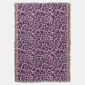 Purple Leopard Print Throw