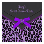 Purple Leopard Sweet 16 Party Personalized Announcement