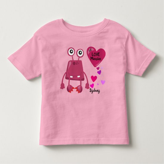 Purple Lil Love Monster with Hearts | Valentine's Toddler T-shirt
