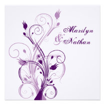Purple Lilac White Floral Sq. Wedding Invitation 2