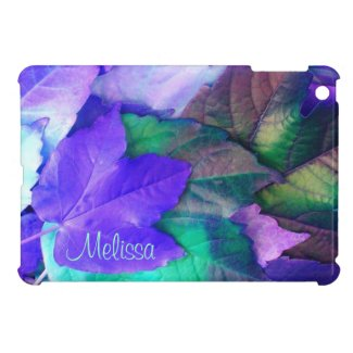 Purple N Teal Leaves iPad Mini case *personalize*