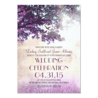 Purple old oak tree & love birds wedding invites