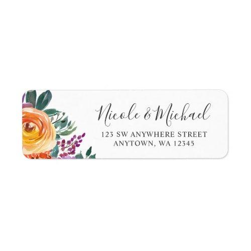 Purple Orange Watercolor Floral Label