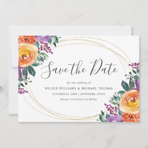 Purple Orange Watercolor Floral Save The Date