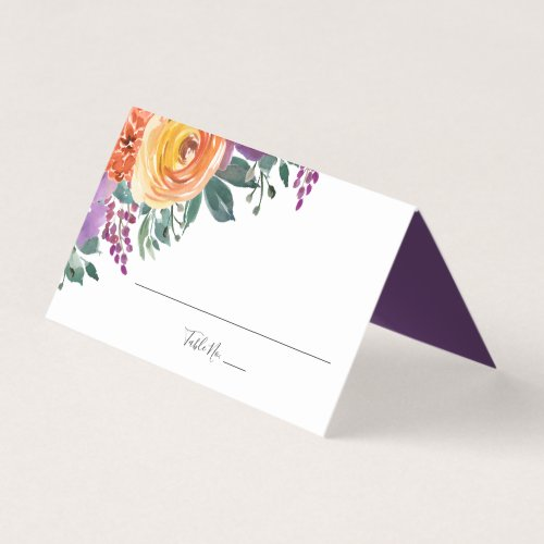 Purple Orange Watercolor Floral Wedding Folded Place Card