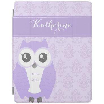Purple Owl Damask ipad cover