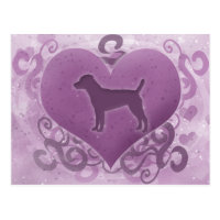Purple Patterdale Terrier Valentine Postcard