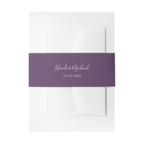 Purple Personalized Wedding Invitation Belly Band