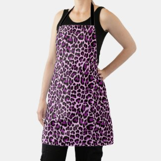 Purple Pink Leopard Print Skin Apron