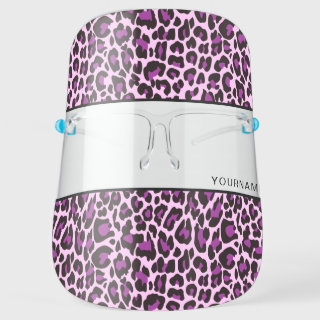Purple Pink Leopard Print Skin Personalize Face Shield