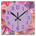 Purple Pink Orange Watercolor Floral Square Wall Clock