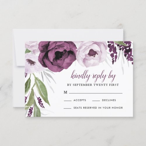 Purple Plum and Gray Silver Elegant Floral Wedding RSVP Card