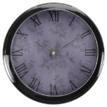Purple Rustic Flower Floral Vintage Wallpaper Aquarium Clock