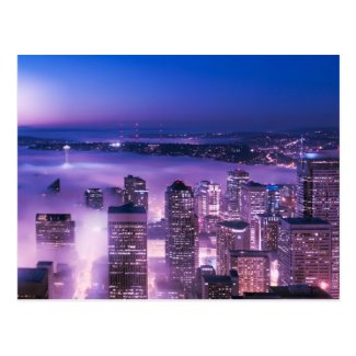 Purple Shades Seattle Panorama Postcard