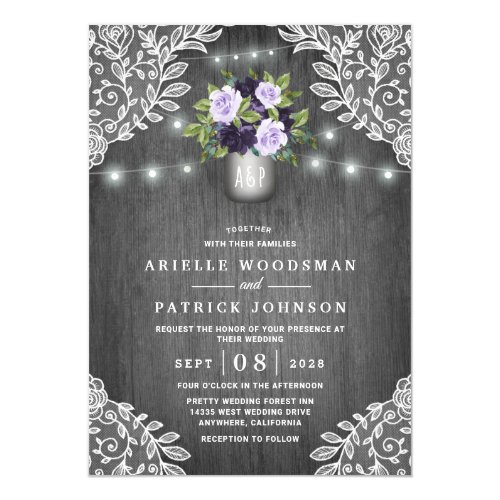 Purple Silver Gray Floral Rustic Mason Jar Wedding Invitation