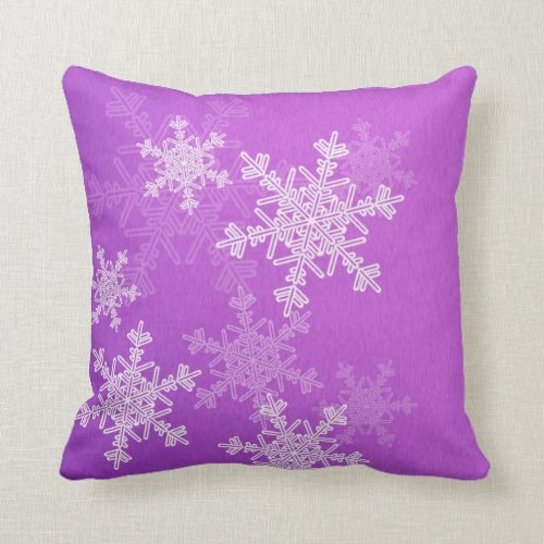 Purple Snowflakes Christmas Pillow