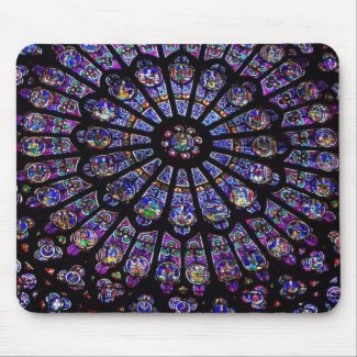 Purple Stained Glass Church Window Mousepads